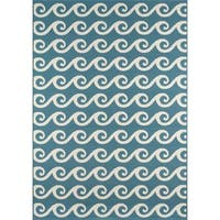 "Momeni Baja Waves Blue Indoor/Outdoor Area Rug - 7'10"" x 10'10"""