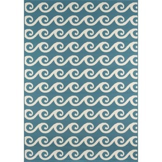 "Machine Made Indoor/Outdoor Nautical Waves Rug (3'11"" x 5'7"")"