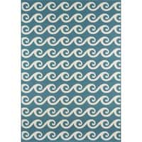 """Momeni Baja Waves Blue Indoor/Outdoor Area Rug - 3'11"""" x 5'7"""""""