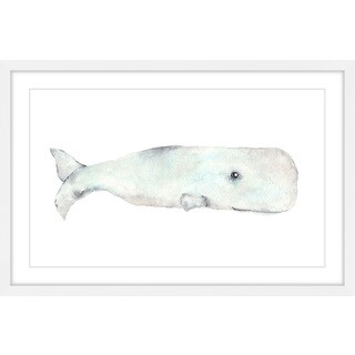 Marmont Hill - 'Happy Whale' by Thimble Sparrow Framed Painting Print - Multi