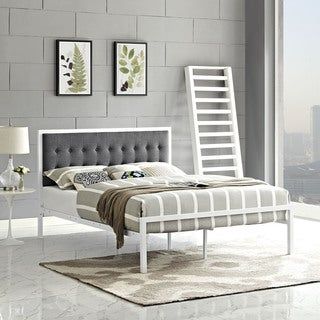 White Gray Millie Fabric Bed