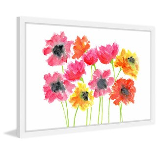 Marmont Hill - 'Bold Zinnias' by Thimble Sparrow Framed Painting Print - Multi