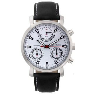 Bernoulli Cerberus Mens master calendar chronograph, textured dial, genuine leather