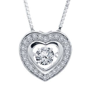 Sterling Silver Created White Sapphire Dancing Stone Heart Pendant|https://ak1.ostkcdn.com/images/products/13680338/P20344670.jpg?impolicy=medium