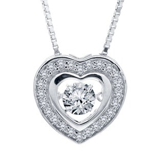 Sterling Silver Created White Sapphire Dancing Stone Heart Pendant