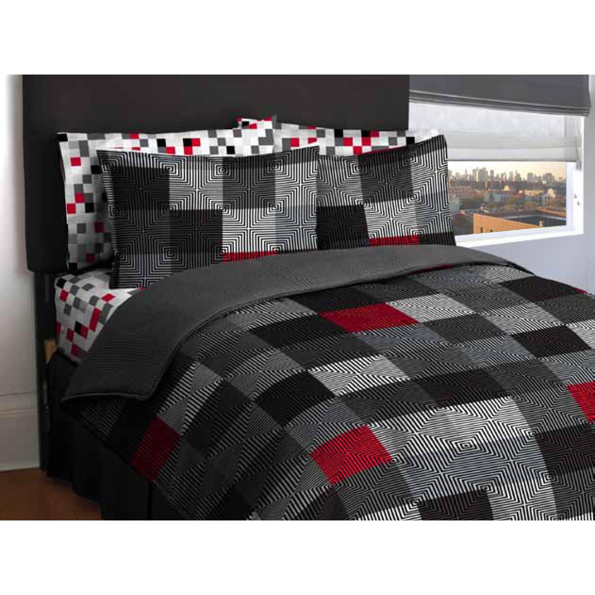loft living Geo Blocks 7 Piece Bed in A Bag Grey Queen