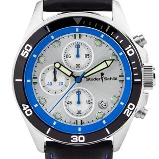 Studer Schild Morse Men's chornograph sport watch, genuine leather strap (Option: Black)|https://ak1.ostkcdn.com/images/products/13680373/P20344953.jpg?impolicy=medium