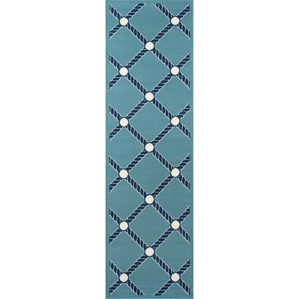 "Momeni Baja Nautical Rope Blue Indoor/Outdoor Area Runner - 2'3"" x 7'6"""