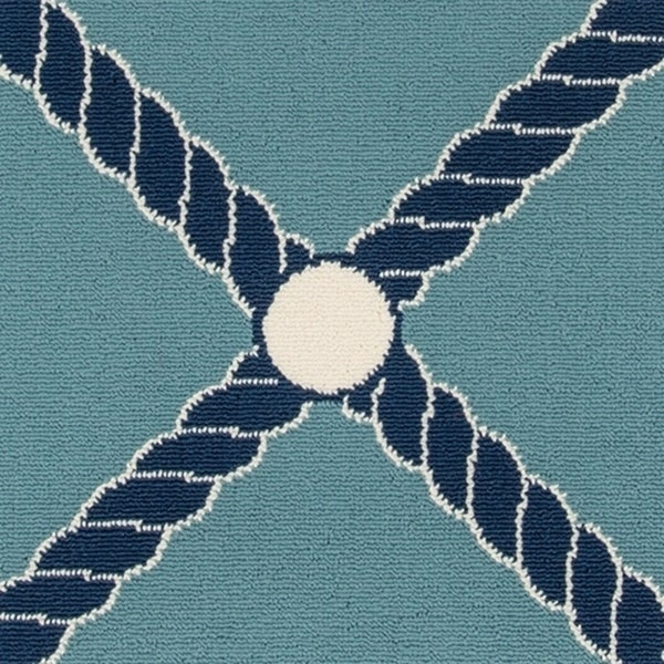Momeni Baja Nautical Rope Blue Indoor Outdoor Area Rug 1 X27 8
