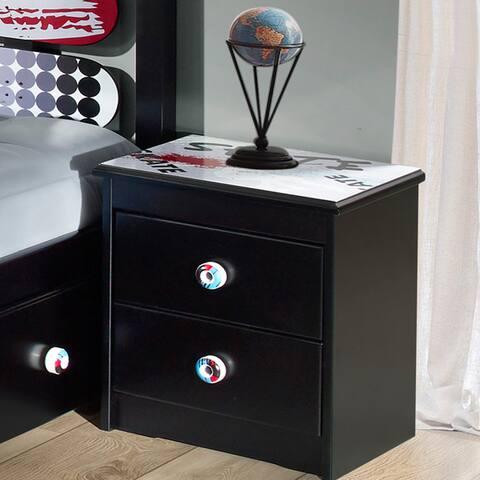 Powell Kickflip Black Wood 2-drawer Nightstand