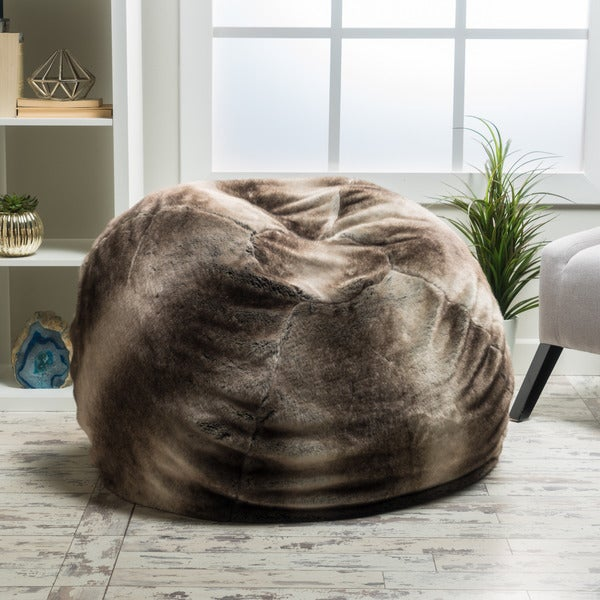 98026db34d Shop Christopher Knight Monroe Faux Fur Lounge Beanbag Chair - Free ...