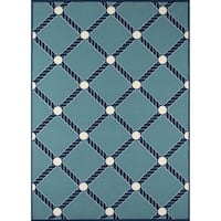 "Momeni Baja Nautical Rope Blue Indoor/Outdoor Area Rug - 6'7"" x 9'6"""