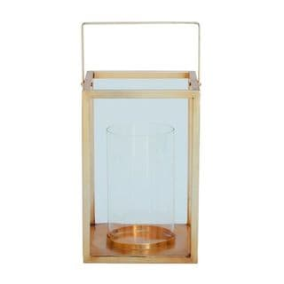 Benzara Goldtone Metal and Clear Glass High Lantern