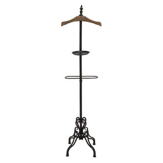 Benzara Black/ Brown Metal and Wood High Coat Rack