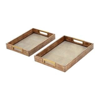 Carson Carrington Hvitsten Goldtone and Wood Accent Tray