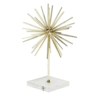 Gold-tone Metal and Acrylic Contemporary Sculpture