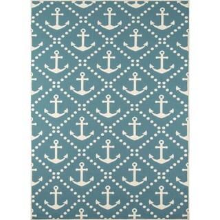 """Momeni Baja Anchors Blue Indoor/Outdoor Area Rug - 3'11"""" x 5'7"""""""