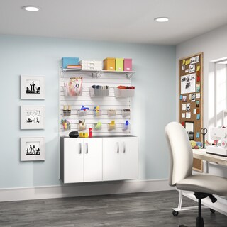Flow Wall 2-piece White Craft Base Cabinet Set