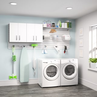 Flow Wall White 2-piece Laundry Cabinet Set