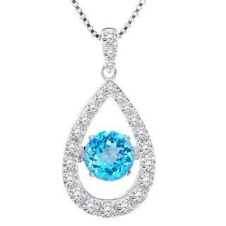 Blue Topaz Dancing Stone Tear Drop Silver Pendant