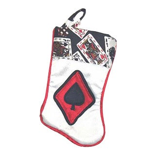 Northlight White Polyester 7-inch Deck of Cards Spades Casino Gambling Mini Christmas Stocking