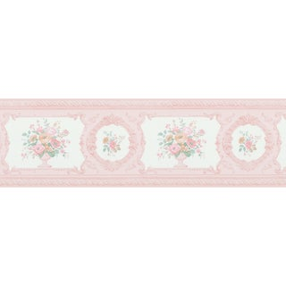 Brewster Floral Bouquet Pink Vinyl Border
