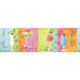 Brewster Multicolor Vinyl Tropical Beverage Border
