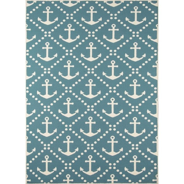 "Momeni Baja Anchors Blue Indoor/Outdoor Area Rug - 7'10"" x 10'10"""