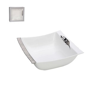 White Porcelain 10-inch Square Salad Bowl