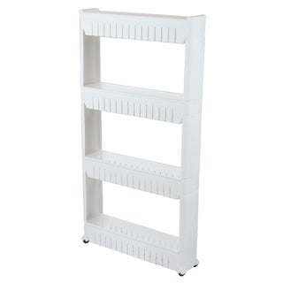 Basicwise Slim 4-shelf Rolling Pull-out Cart Rack Tower Storage Cabinet Organizer