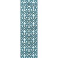"Momeni Baja Anchors Blue Indoor/Outdoor Area Runner - 2'3"" x 7'6"""