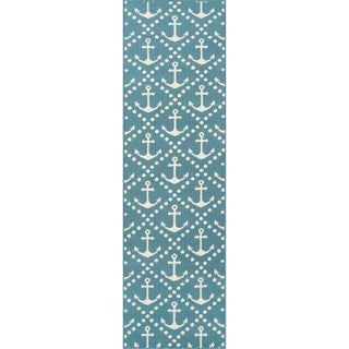 Momeni Baja Anchors Blue Indoor/Outdoor Area Runner Rug (2'3 x 7'6)