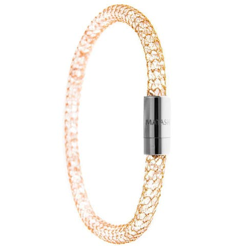Matashi Gold Plated Mesh Bangle Bracelet with Magnetic Clasps and High Quality Crystals (3 Color Options)