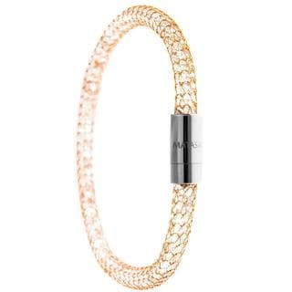 Matashi 18k Gold Plated Mesh Bangle Bracelet with Magnetic Clasps and High Quality Crystals (3 Color Options)