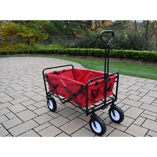 Red Polyester and Black Stainless Steel Collapsible Wagon Cart