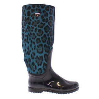Dolce Gabbana Blue Leopard Calf Skin Size 6 Rain Boots