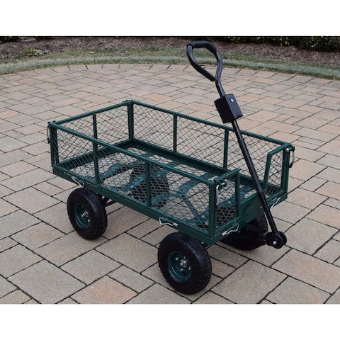 450 lb Weight Capacity Garden Cart with Adaptor Handle in Green