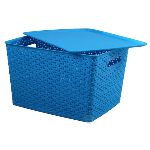 Basicwise Blue Plastic Storage Container box with Lid