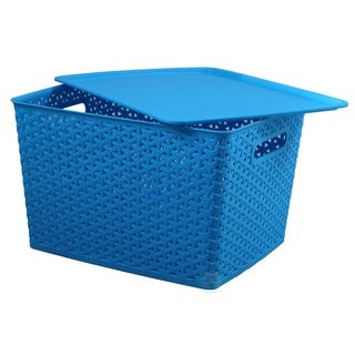 Plastic Blue Storage Container box with Lid