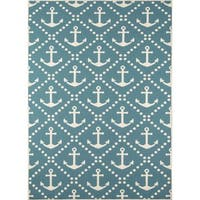 "Momeni Baja Anchors Blue Indoor/Outdoor Area Rug - 6'7"" x 9'6"""