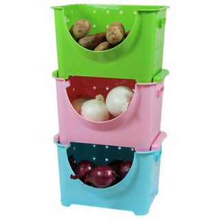 Link to Basicwise 3-color Plastic Stackable Storage Containers Similar Items in Laundry