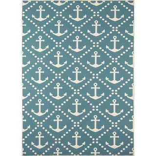 "Momeni Baja Anchors Blue Indoor/Outdoor Area Rug - 1'8"" x 3'7"""