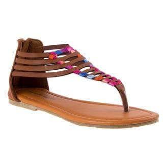 Nanette Lepore Girls' Brown Polyurethane Thong Sandals
