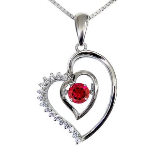 Created Ruby Dancing Stone Heart Silver Pendant