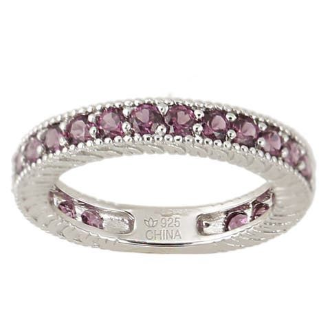 Sterling Silver Rhodolite Round Eternity Ring (Size 7)
