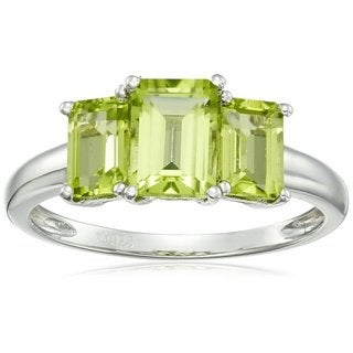 Sterling Silver Peridot Octagon 3-Stone Ring