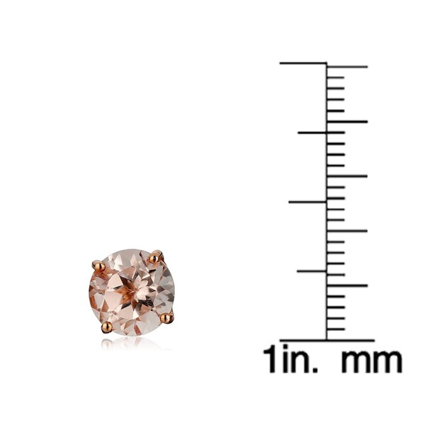GEORGOUS 5mm ROUND PINK MORGANITE STERLING STUDS-1.00 ctw BEAUTIFUL STONES