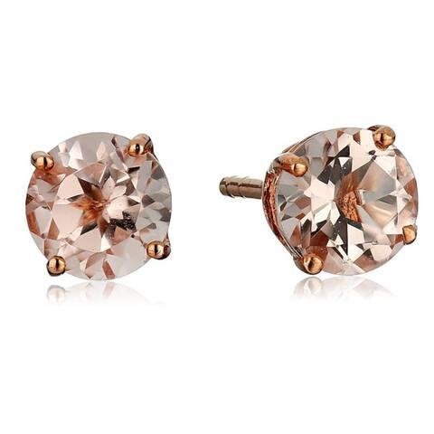 10kt Rose Gold Morganite Round Stud Earrings