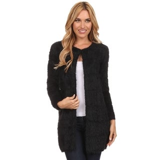 High Secret Women's Fluffy Knit Striped-design Crew Neck Cardigan