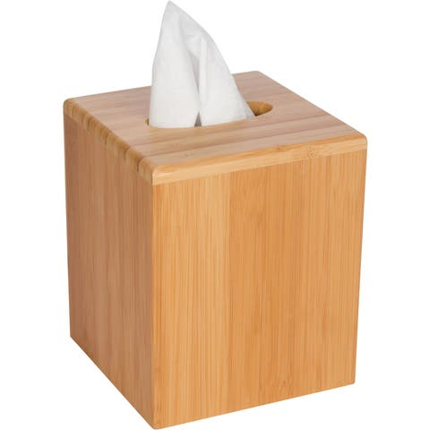 Trademark Innovations Square Bamboo Tissue Box Cover